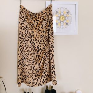 Cheetah Leopard Maxi Skirt Silky